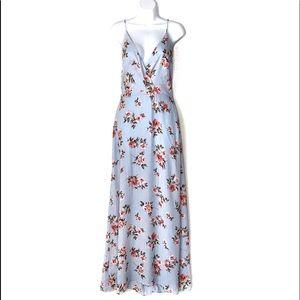 NWT LUSH Blue floral plunge neck maxi dress